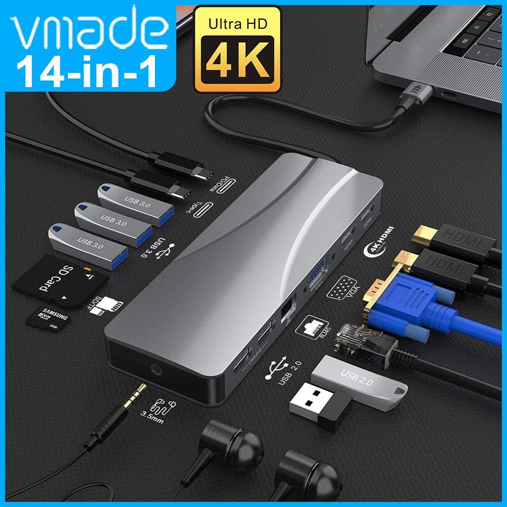 نوع C 14 في 1 محور إلى USB 3.0 محور HDMI مع RJ45 محول قفص الاتهام لماك بوك برو هواوي ماتي 30 USB-C 3.1 الفاصل ميناء TypeC HUB،كما أنه يدعم إخراج بيانات VGA HD. شحن سري...