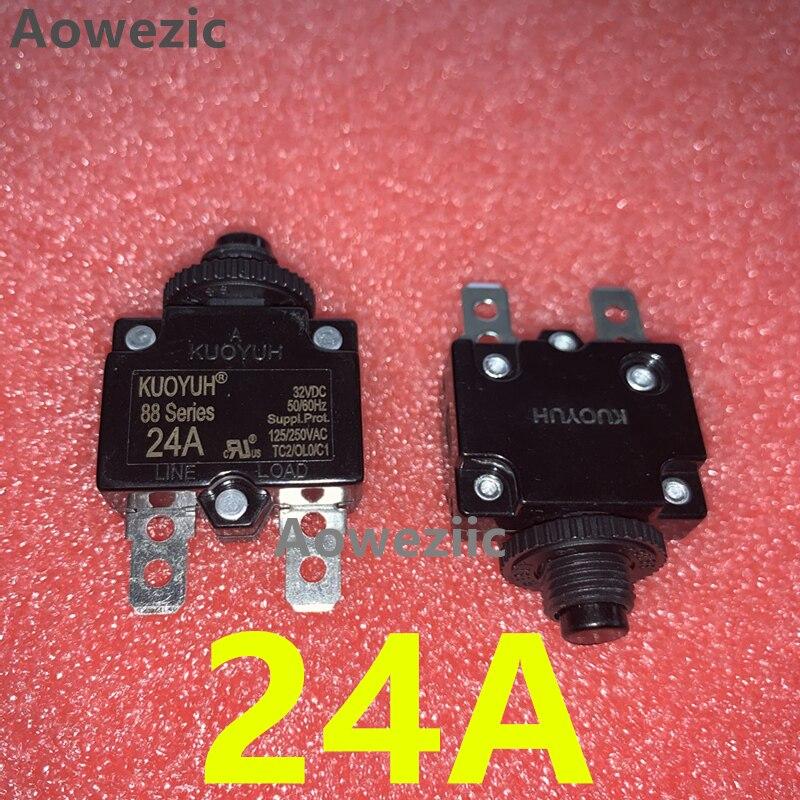 2 pces taiwan kuoyuh 88 série 24a disjuntor redefinir manual protetor de sobrecarga de corrente interruptor de vazamento protetor de sobrecarga em miniatura