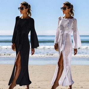 Women's Swimsuit 2021 Woman Beach Dress Sexy Solid Color Hollow Design Knitted Long Dress for Beach Bathing Summer