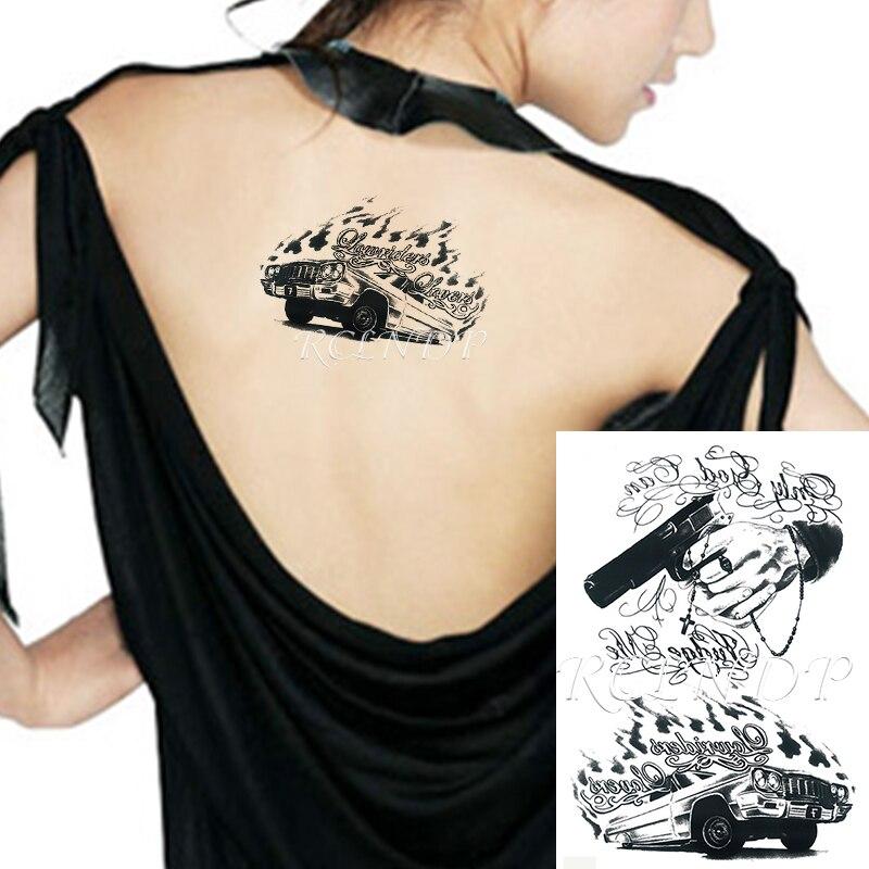 """Tatuagem temporária à prova dwaterproof água etiqueta do carro arma """"só deus pode me julgar"""" falso tatto flash tatoo mão braço pé arte para homens"""