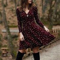 Vintage Dress Women Plus Size V Neck Manches Long Sleeve Robe Female Retro Elegant Party Culb Dresses For Women Autumn Vestido