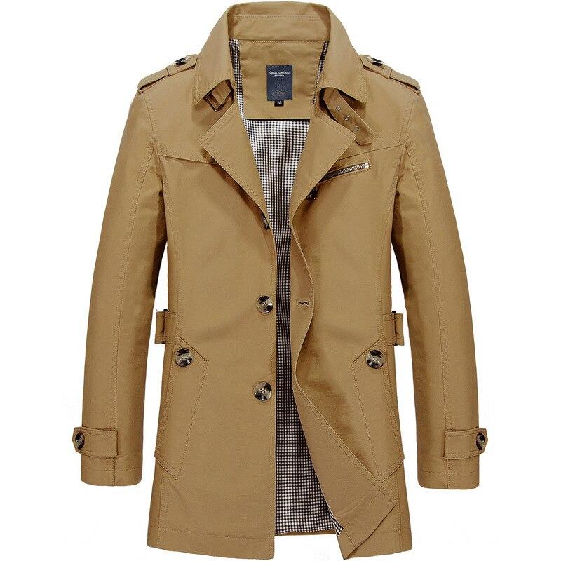 Мужская деловая куртка YallaiArt, модная Осенняя мужская длинная хлопковая ветровка, куртки, Тренч, верхняя одежда, пальто, мужская куртка, 2021
