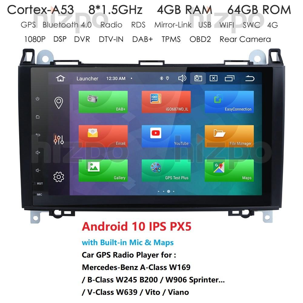 IPS 4GB 1din Radio de coche GPS estéreo para Mercedes Sprinter W906 Benz B200 una clase B W169 W245 Viano Vito W639 Multimeida de navegación
