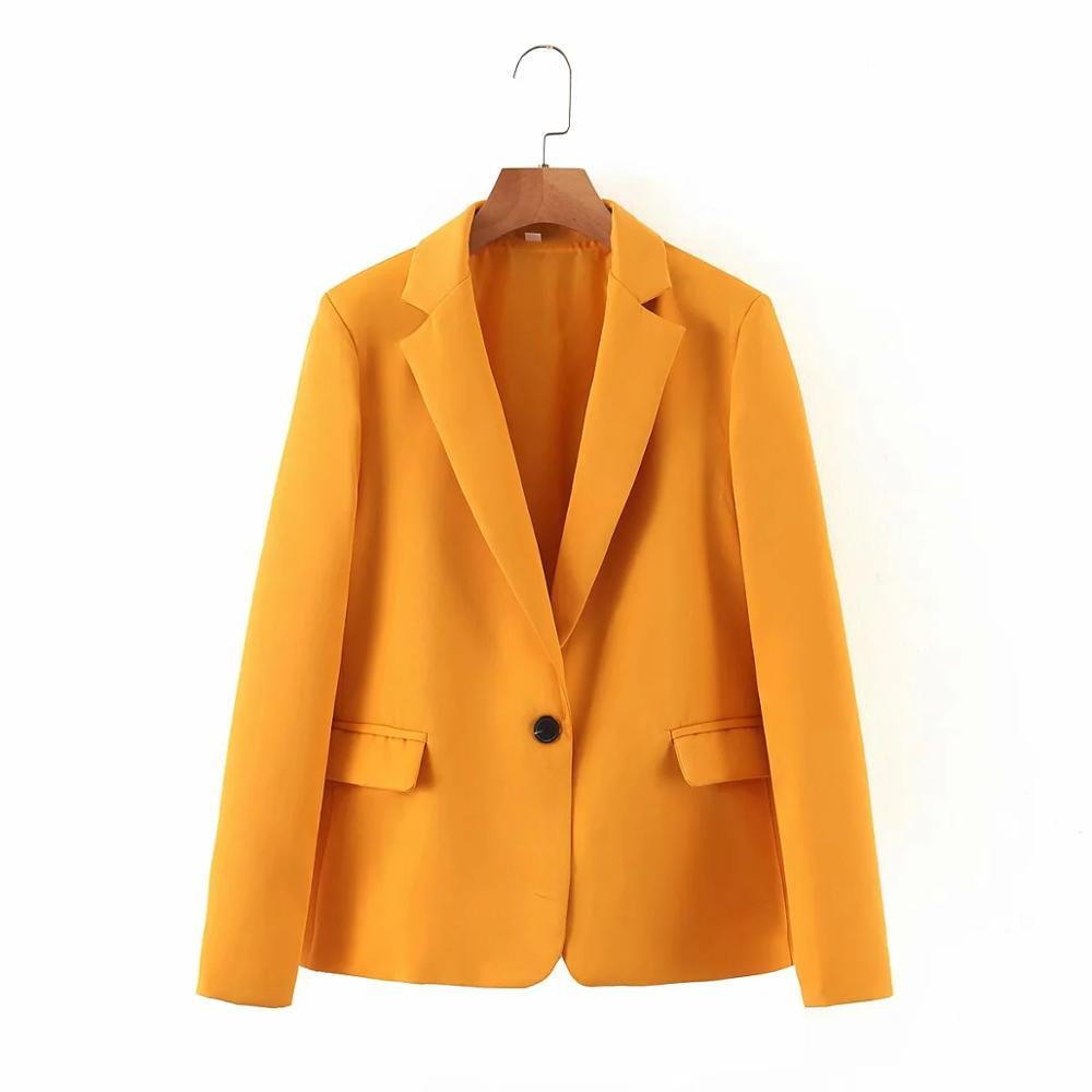 Mulheres do vintage elegante amarelo blazers 2020 moda senhoras entalhado colar jaquetas terno casual feminino terno meninas jaqueta solta chique