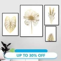 Affiches de peinture sur toile  feuille de palmier Monstera doree  fleur de ble  tableau dart mural pour decoration de salon  decoration de maison