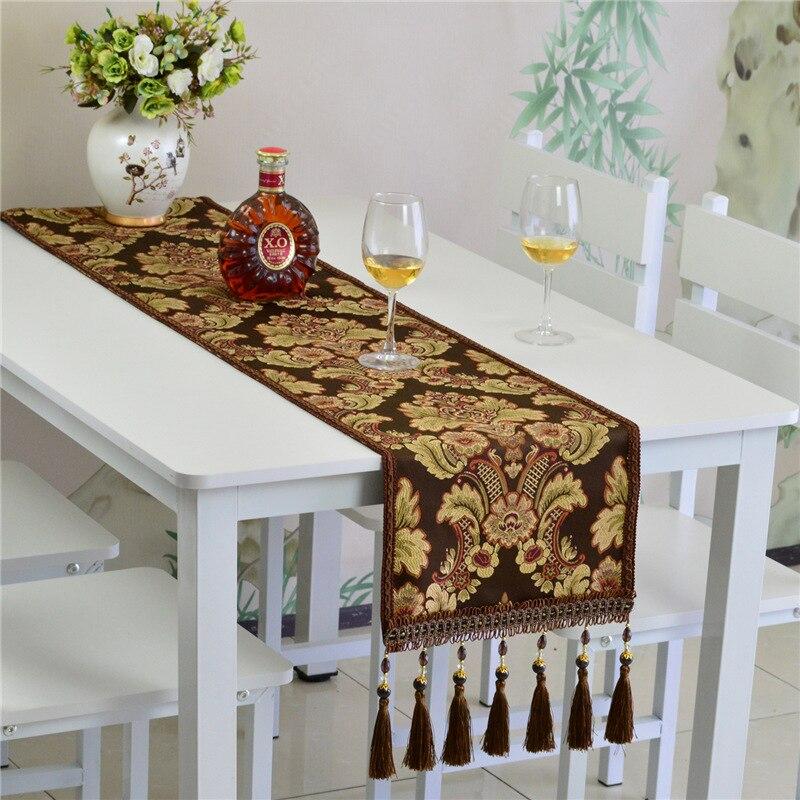 Camino de mesa de comedor europeo, tapete de mesa para gabinete de TV de gama alta dorado con borla de lujo, tapete de toalla a prueba de polvo europeo