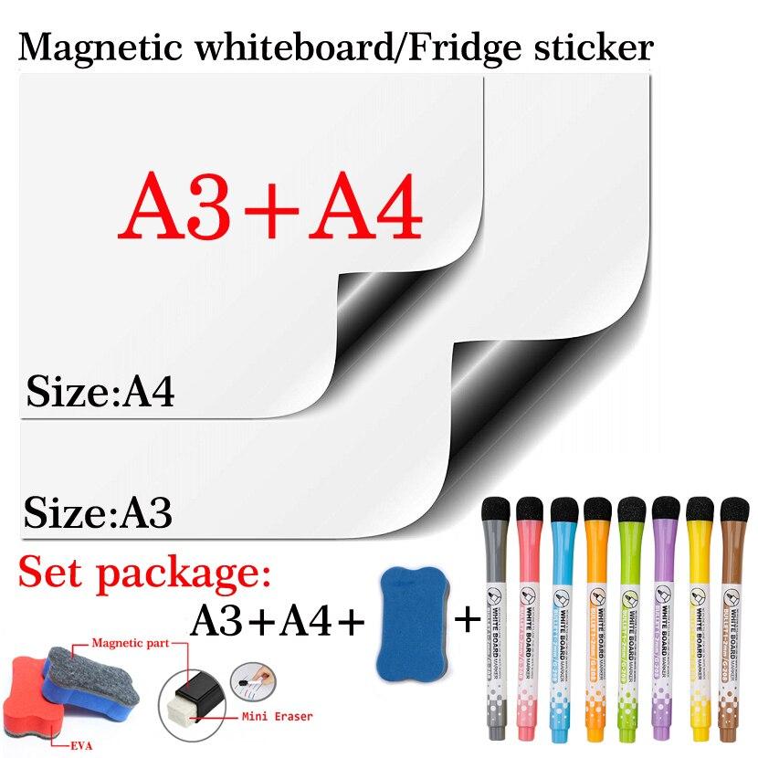 Из 2 предметов магнитно-маркерная доска A3 + A4 комплект посылка сухое стирание белая доска календарь холодильник Стикеры доски для записей пл...