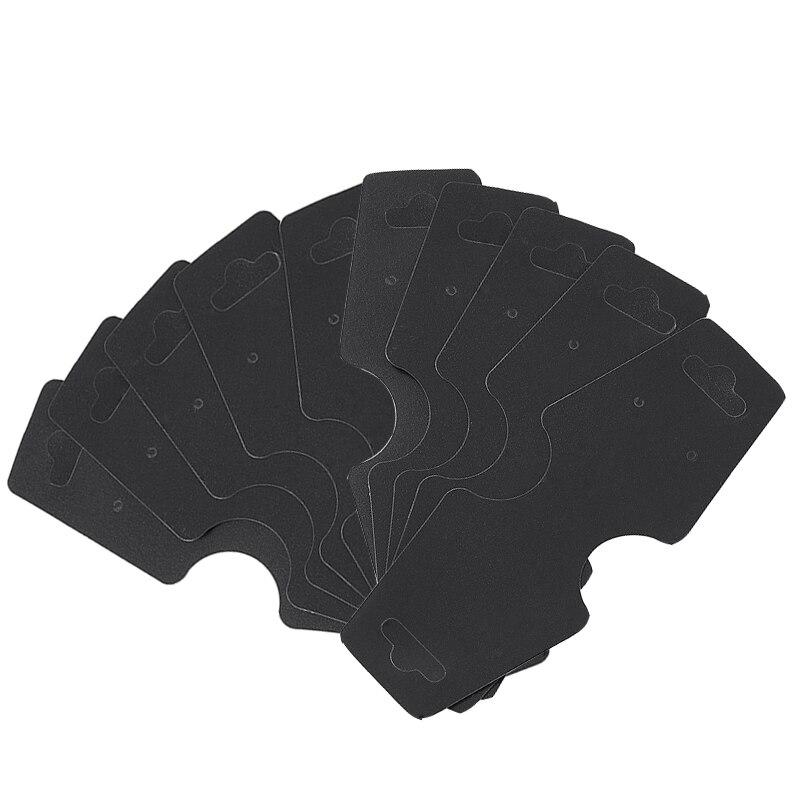 100pcs Plastic Jewelry Display Card Cardboard for Necklace Bracelet Pendant 124x48mm Black White