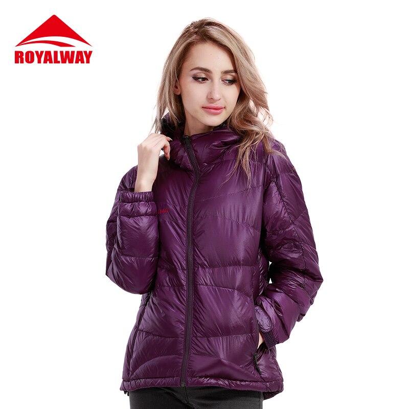ROYALWAY chaqueta de invierno 2019 para mujer, chaqueta de plumón, Color Rojo Negro púrpura, moda, con capucha, abrigo cálido para exteriores, mujeres delgadas RFDL4205F