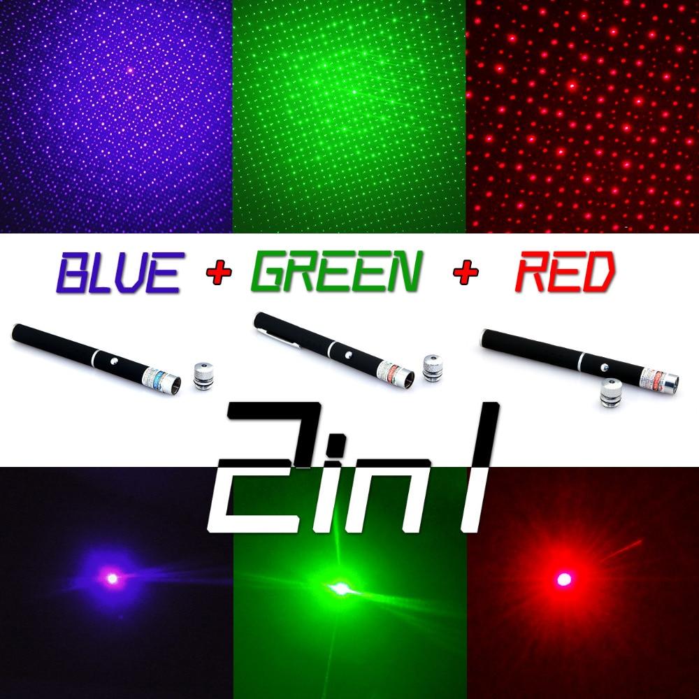 Nuevo Puntero láser 2 en 1 Puntero láser 5mw potente Caneta láser Verde/Rojo/azul violeta Lazer Verde con tapa de estrella para la Oficina