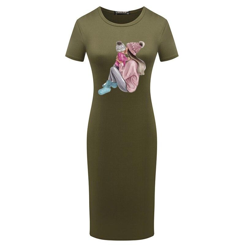 Sexy Midi Bodycon Dress Short Sleeve Mom Baby Print Elegant Party Pencil Dresses Plus Size Vintage Y2K Womens Summer Clothing