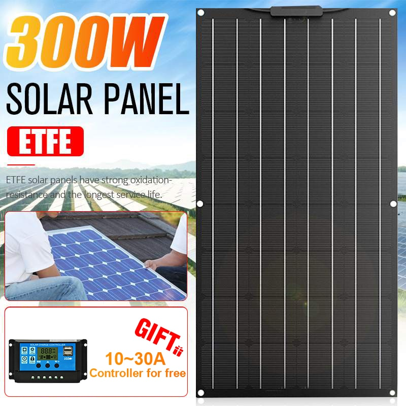 300W ETFE Flexible Solar Panel Kit Complete Panel Solar Cell Battery Charger Energy System Generator Smartphone Car Boat Camping