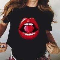 women red mouth lip kiss printed girl black tshirt summer funny leopard graphic tee shirt femme harajuku t shirtdrop ship
