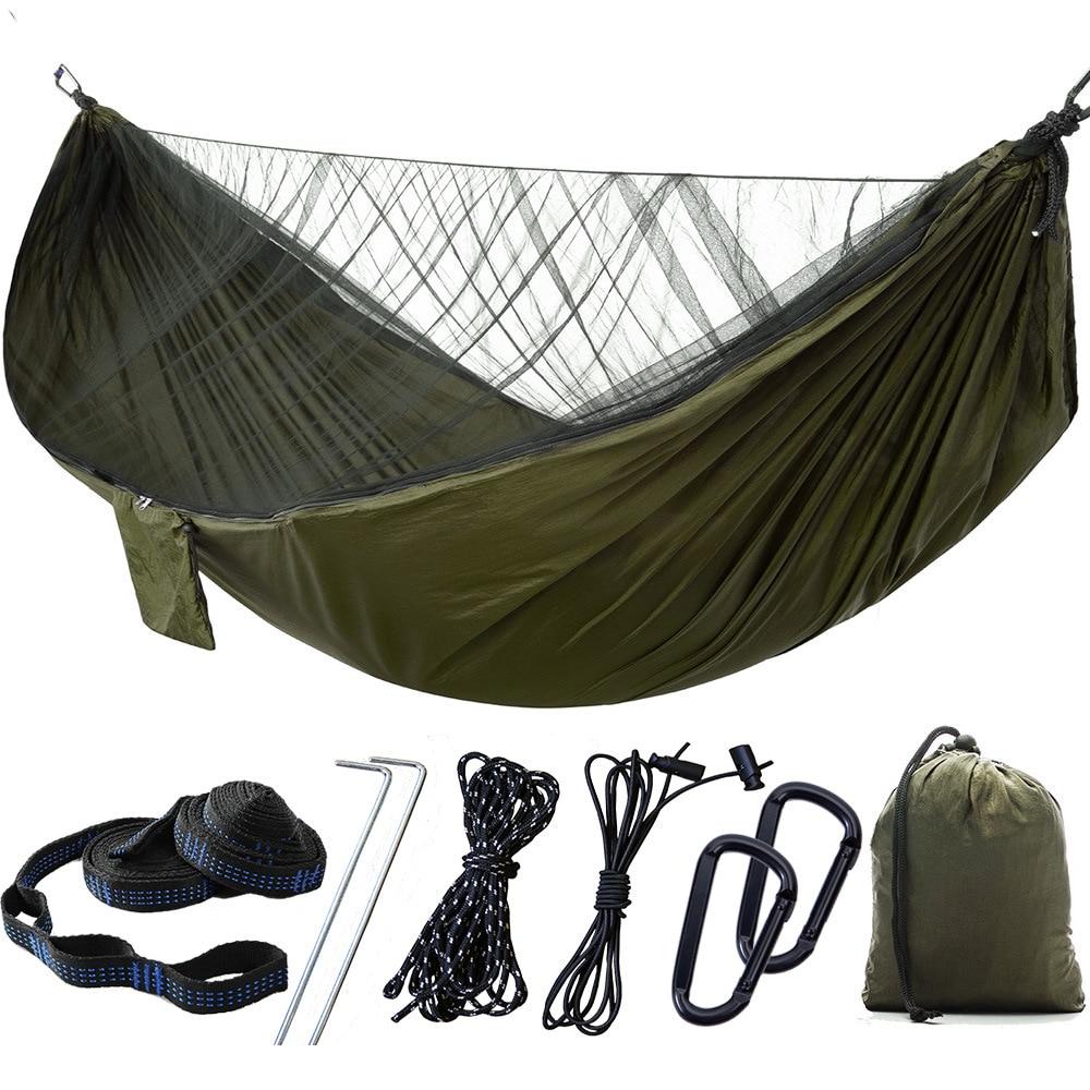 Портативный туристический гамак, на 2 человек, уличная подвесная кровать из парашютной ткани, с москитной сеткой, высокая прочность, автомат...