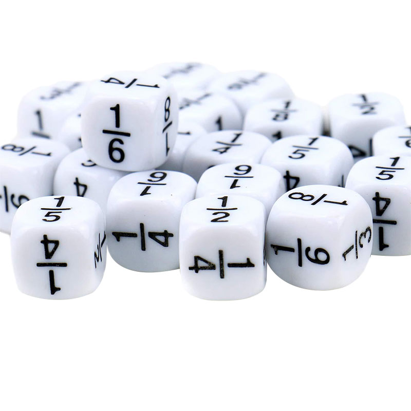 10 шт./партия фракции игральная кость белый 16*16 мм фракционный номер кубики Монтессори дети Математические Игрушки для детских игр Игрушки