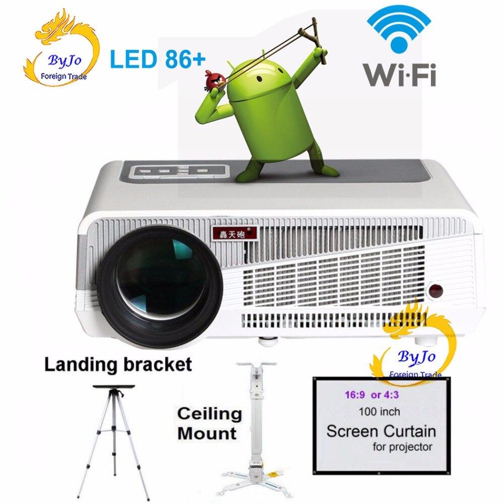 Poner Saund LED86 + wifi led projektor Android 6.0 HD LED 3D Projektor 5500 lumen proyector Beamer 1080p HDMI Video multi bildschirm