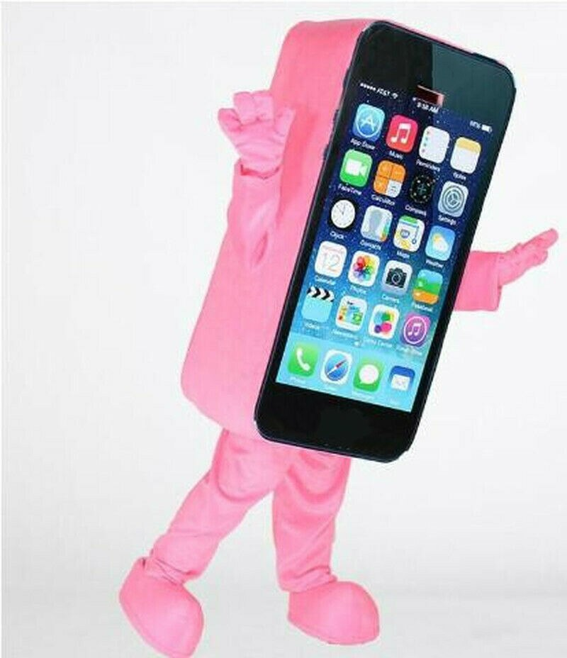 زي التميمة الهاتف الوردي قصيرة أفخم تأثيري دعوى للإعلان الاحتفال الحدث حفلة تنكرية ملابس تنكرية الزي من حجم الكبار