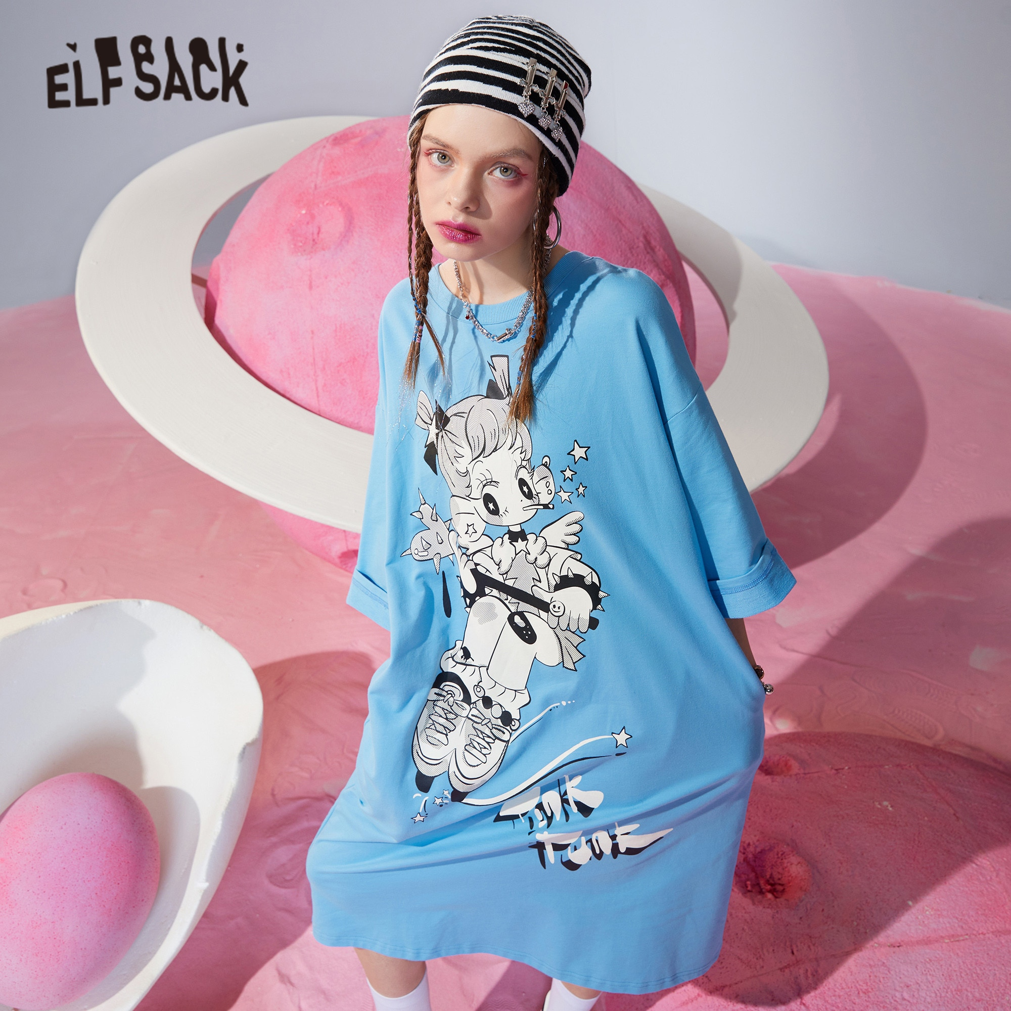 ELFSACK-فستان نسائي عتيق غير رسمي مستقيم بطبعة جرافيك ، فستان نسائي عتيق غير رسمي ، مع فيونكة ، رسن ، فستان صيفي كوري ، Harajuku ، ربيع 2021