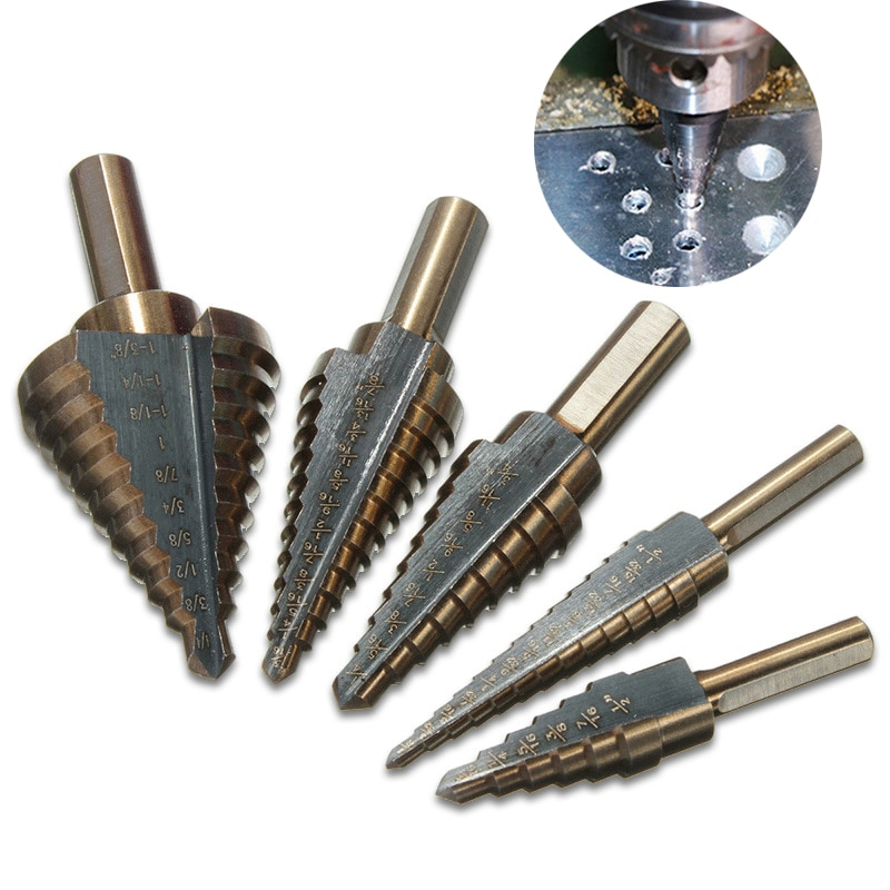5pcs HSS 4241 Inch Hss Cobalt Step Drill Bit Set Multiple Hole 50 Sizes Case Metal Drilling Tool for Metal with Aluminum Case