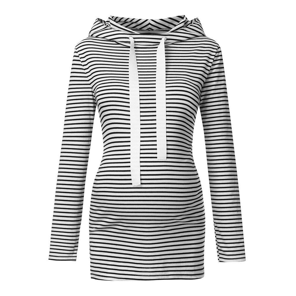 Blusa de manga larga de maternidad para mujeres embarazadas, de Color sólido blusa a rayas, blusa de invierno informal para mujeres lactantes A1