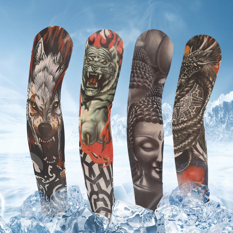 wholesale 1pcs arm warmers cycling sleeves manga tattoo sleeve printed uv protection mtb bike bicycle arm protection ridding Unisex Outdoor Cycling 3D Tattoo Printed Arm Sleeves Sun Protection Bike Basketball Compression Arm Warmers Ridding Cuff Sleeves