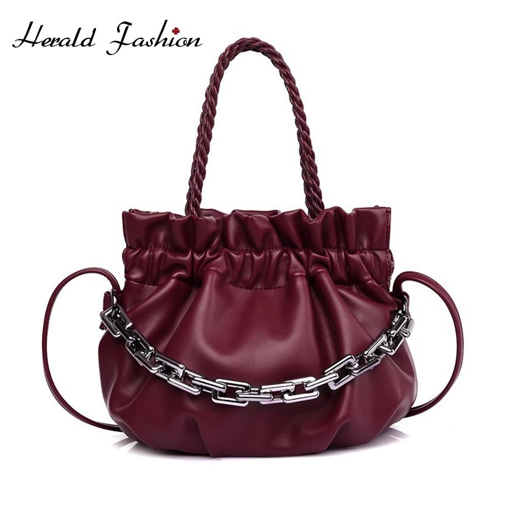 Solid Color Elegant Female Tote Bag 2021 Fashion Soft Leather New Women Designer Handbag Casual Travel Shoulder Messe Cloud Bag