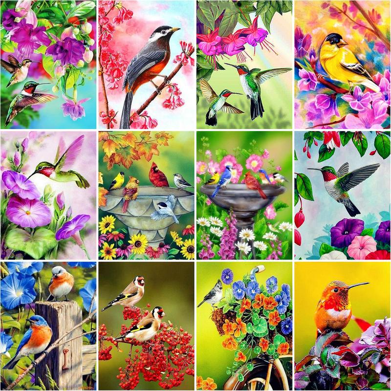 AliExpress - RUOPOTY Painting By Numbers 40*50cm Frame Flowers Birds Animals Oil Picture Drawing Coloring By Number For Home Decors Art
