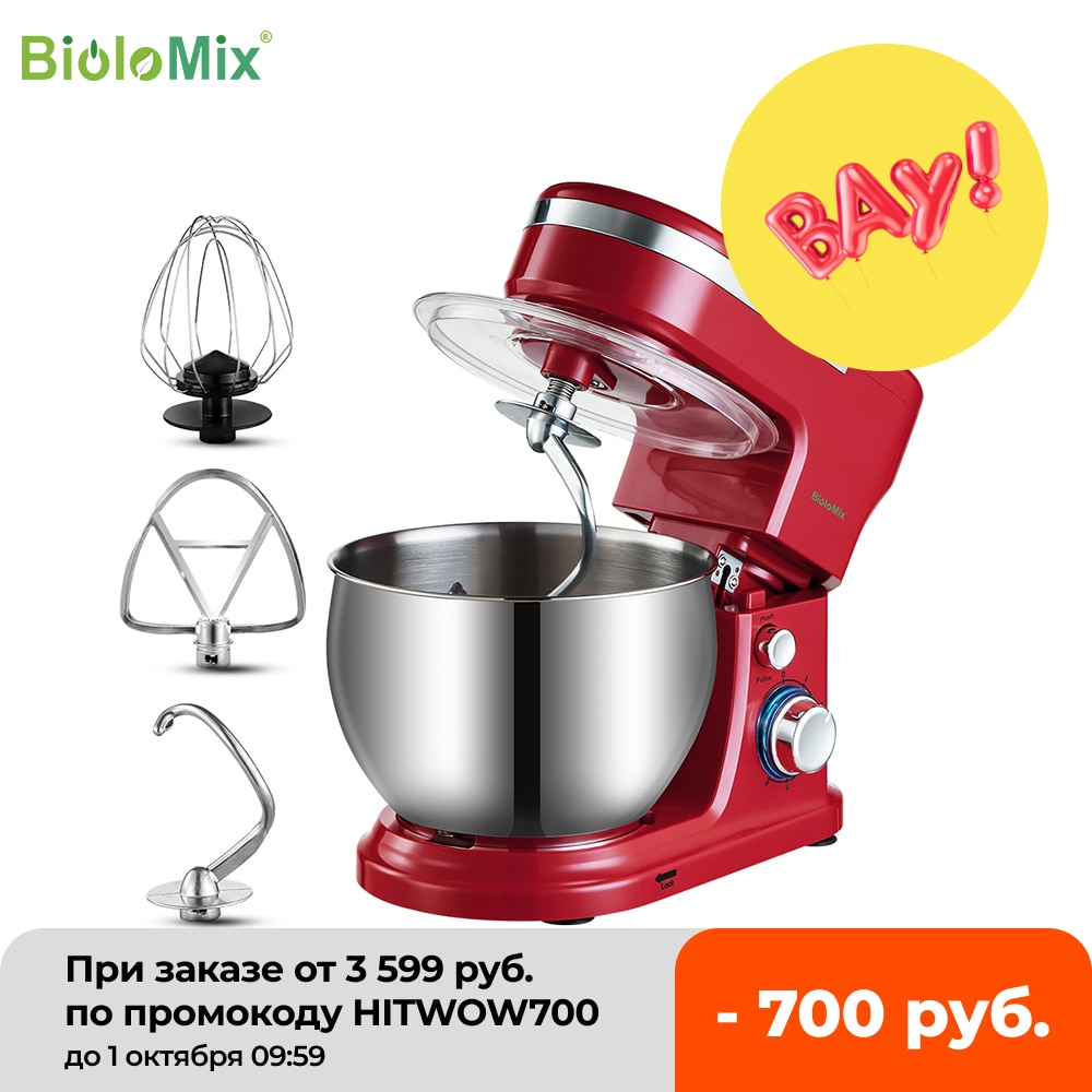 zhoutu 2 in 1 stand mixer 5 speeds electric mixer hand mixer with 3 5l stainless steel mixing bowl whisk beaters BioloMix 1200W  5L Stainless Steel Bowl 6-speed Kitchen Food Stand Mixer Cream Egg Whisk Whip Dough Kneading Mixer Blender