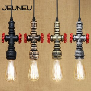 Vintage Pendant Lamp E27 One Head Water Pipe Style Hanging Light LED Bulb with Edison Light Bulb Kitchen Cabinet Lights Bar
