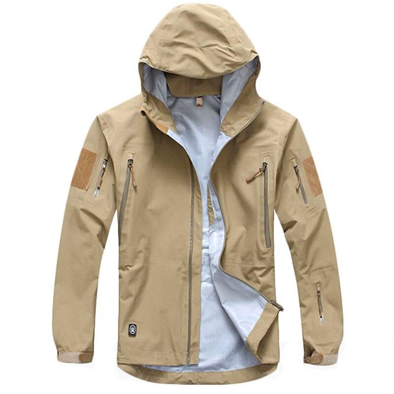 Outdoor Waterproof Hard Shell Military Tactical Jacket Men Camouflage Hooded Hardshell Thin Pressure Glue Windbreaker Coat Tops