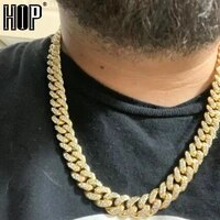 hip hop 13mm miami curb cuban chain necklace gold iced out aaa paved rhinestones cz bling necklaces men rapper jewelry
