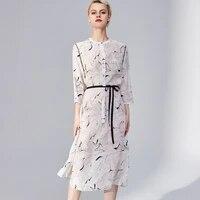 100 heavy silk womens runway dresses o neck 34 sleeves printed sash belt fashion casual spring summer dresses
