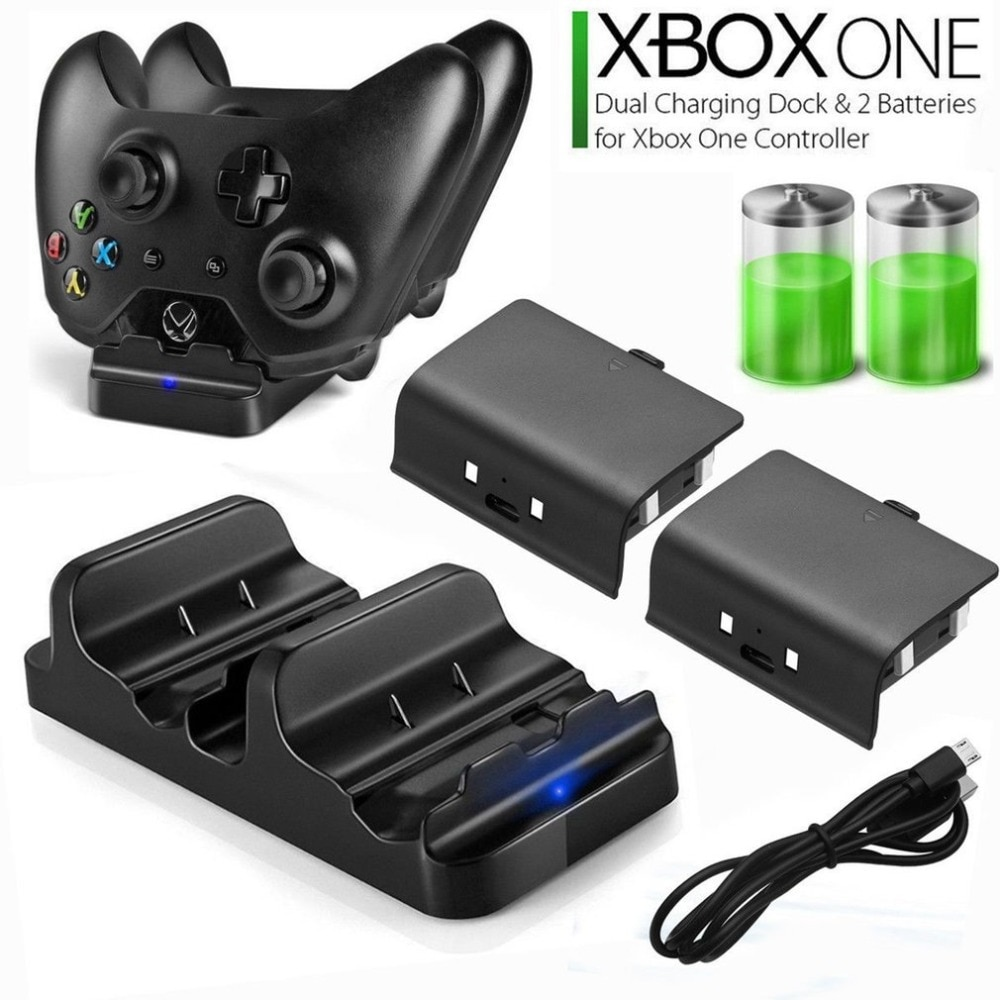 Быстрое зарядное устройство для xbox ONE, двойная зарядная док-станция + 2 аккумуляторных контроллера xbox ONE