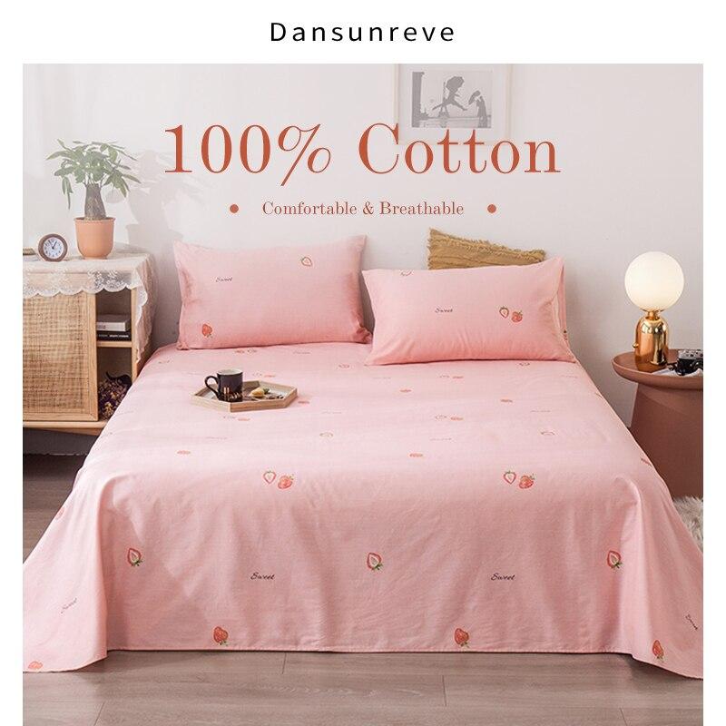 Dansunreve 3 قطعة ورقة مسطحة مجموعة 100% القطن ملاءات مع أغطية سرير المخدة الكرتون للأطفال الكبار واحدة مزدوجة الملك الملكة