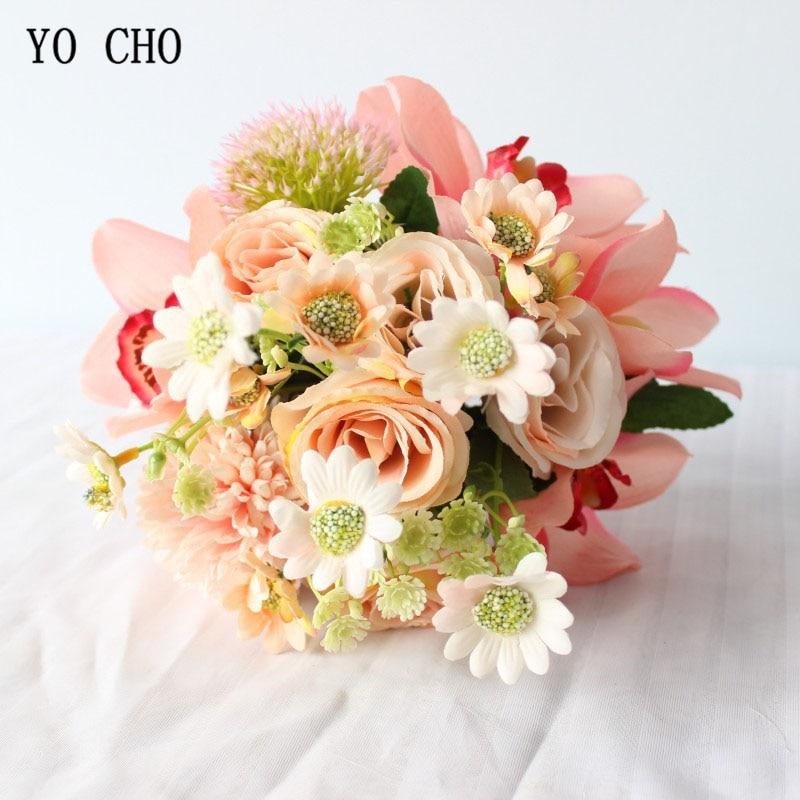 YO CHO-باقة من الورود الاصطناعية من الحرير ، زهور الأوركيد ، بوكيه الزفاف ، لحضور حفلة موسيقية