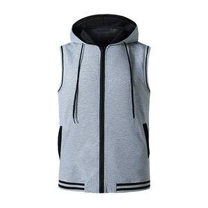 Brand Clothing Bodybuilding Muscle Guys Fitness Mens Gym Hooded Tank Top Vest Stringer Sportswear Sleeveless Shirt Hoodie