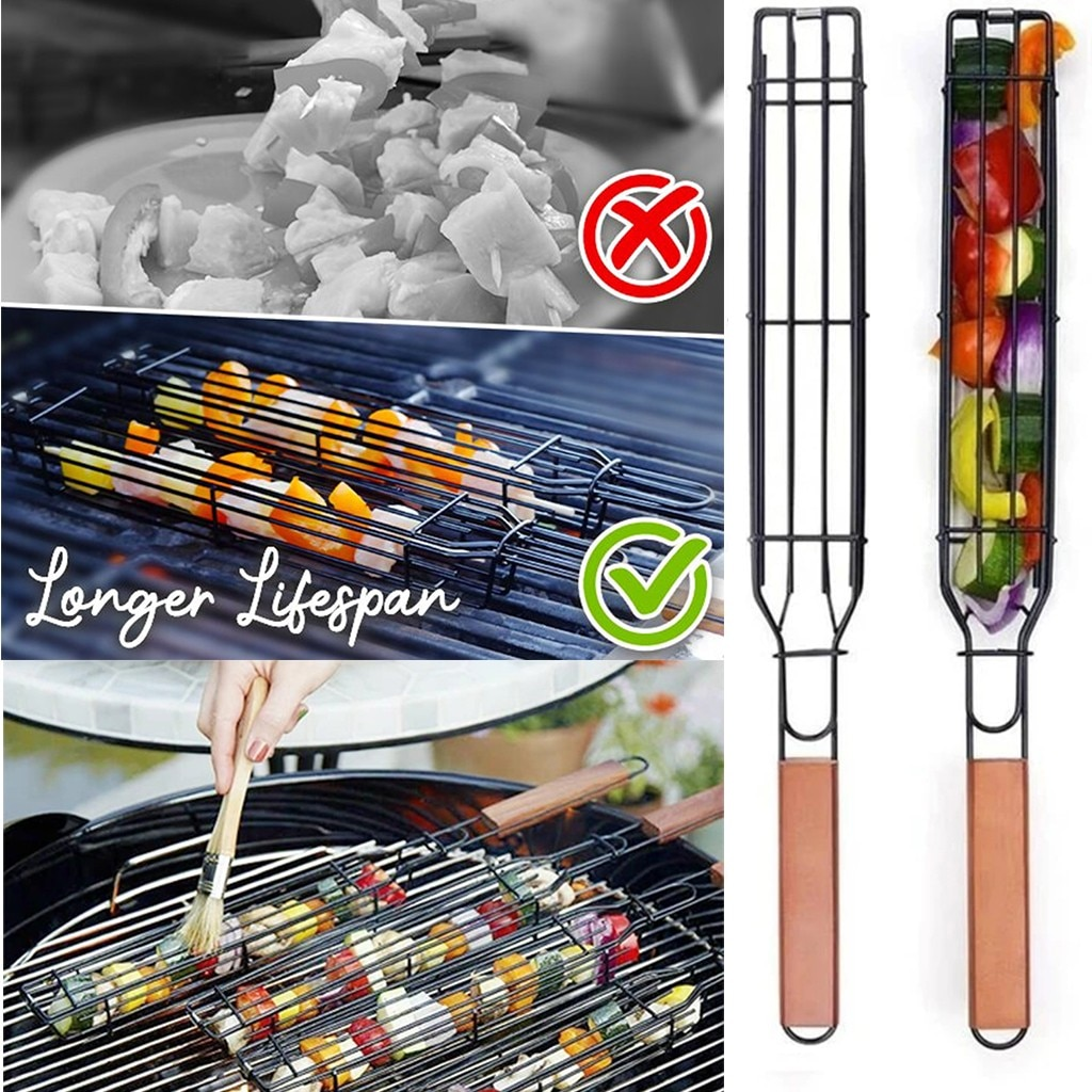 Accesorios De Barbacoa fácil Kebab cestas para Barbacoa parrilla herramientas De cocina...