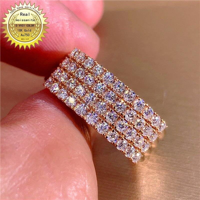 100% Au750 18k الذهب DVVS لون مويسانيتي لدينا شهادة 002