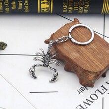 Ретро панк скорпион король брелки для мужчин мальчиков винтажные кольца для ключей с животными крутая сумка для ювелирных изделий авто подвеска аксессуар для ключей