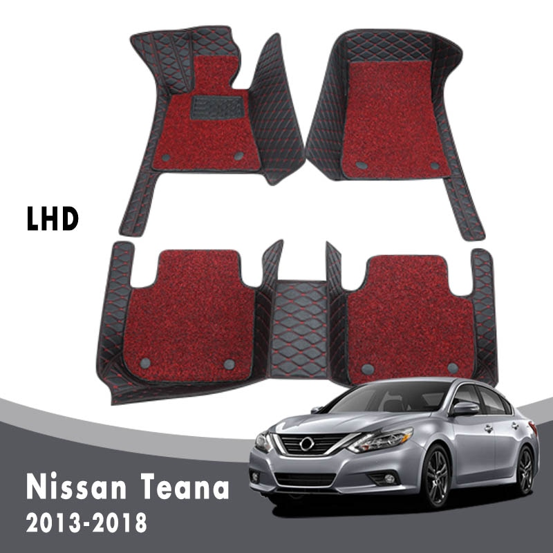 Luxury Double Layer Wire Loop For Nissan Teana Altima L33 2018 2017 2016 2015 2014 2013 Car Floor Mats Carpets Interior Custom
