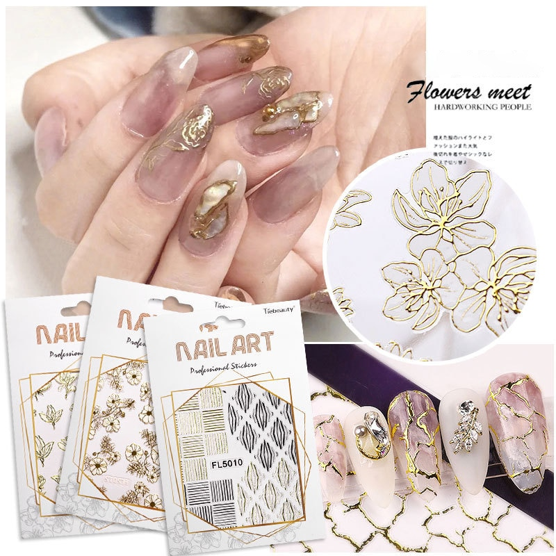 3D Gilded Nail Stickers Flowers Lace Gel Decals Acrylic Engraved Sliders Embossed Foils Manicure Nai