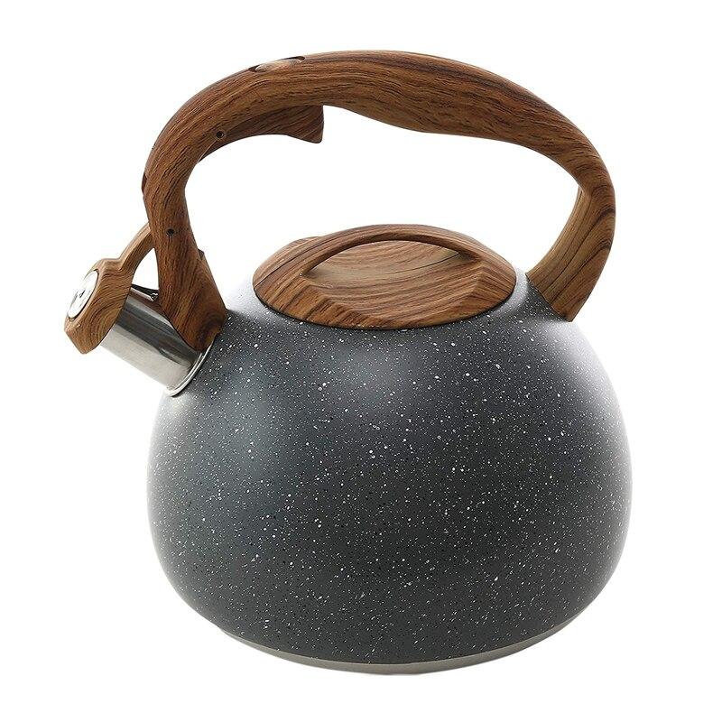 Чайник для горячего чая, 3 шт., чайный горшок для плиток, деревянный узор, ручка с громким свистком, пищевой чайник из нержавеющей стали, чайни...