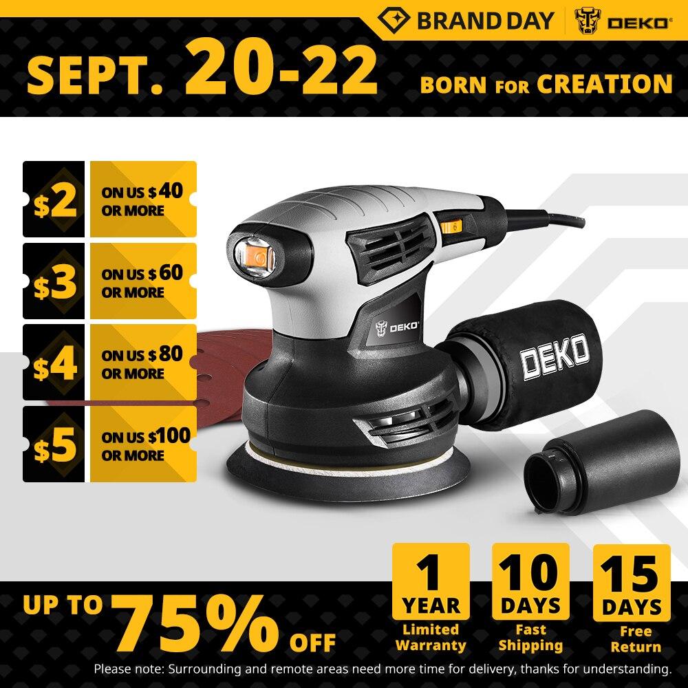 DEKO 280W/320W/350W Random Orbit Sander with 8 Hole 125mm Sandpaper and Variable Speed Sander Power Tools (DKSD Series)