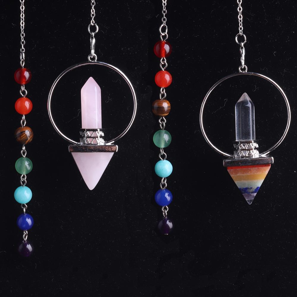 1 pces que equilibram o pêndulo de quartzo de pedra natural cristal rosa reiki que cura pendule pendulums pingente para radiestesia