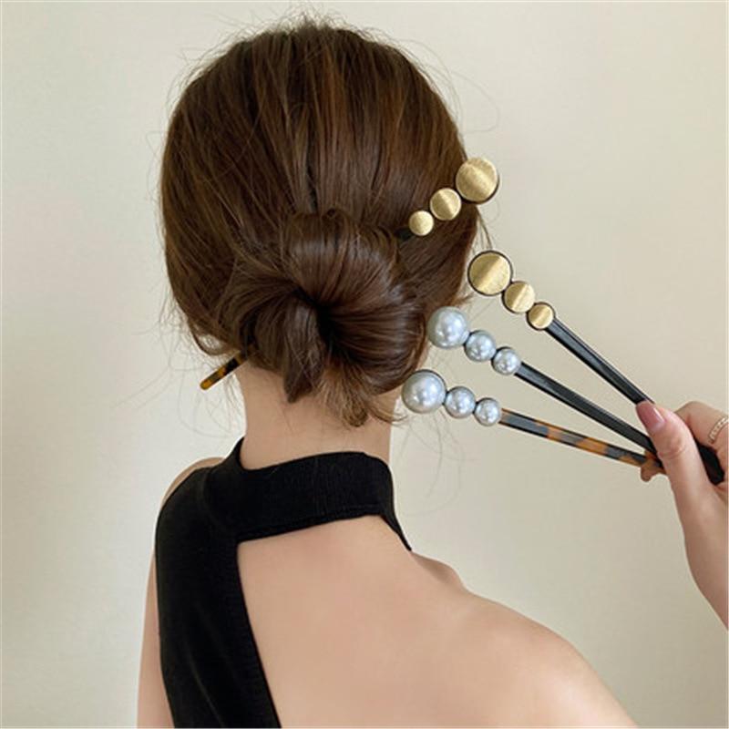 Женские шпильки для волос в китайском стиле, шпильки для волос из искусственного жемчуга и ацетата, свадебные украшения для волос, аксессуа...