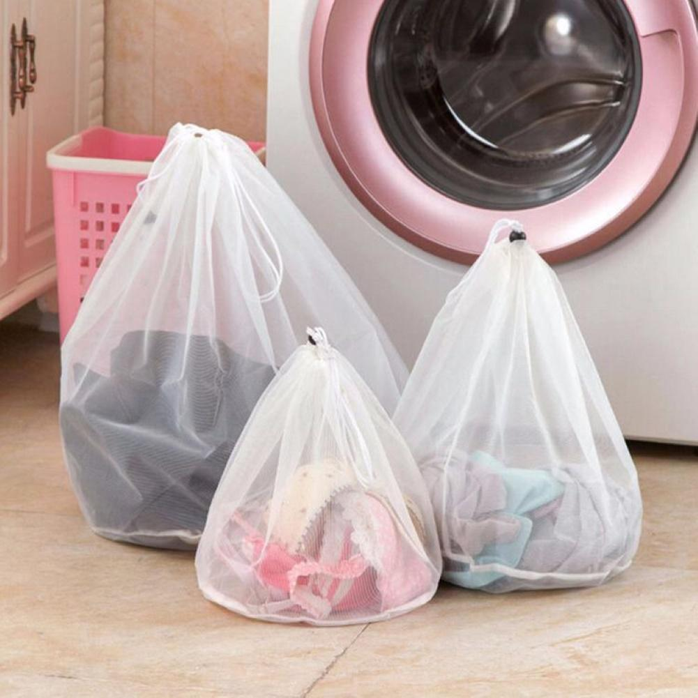 Ropa de poliéster duradera Anti-enredos Anti-deformación lavadora de malla con cordón bolsa de lavandería accesorios de baño para el hogar
