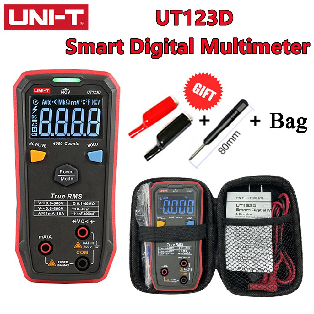 UNI-T UT123D Automatic Smart Digital Multimeter RMS AC/DC Current Voltage Resistance Capacitance Tester Household Multimeter qq2 0 compact analog multimeter ac dc voltage current mini multimeter use for home and student applicable