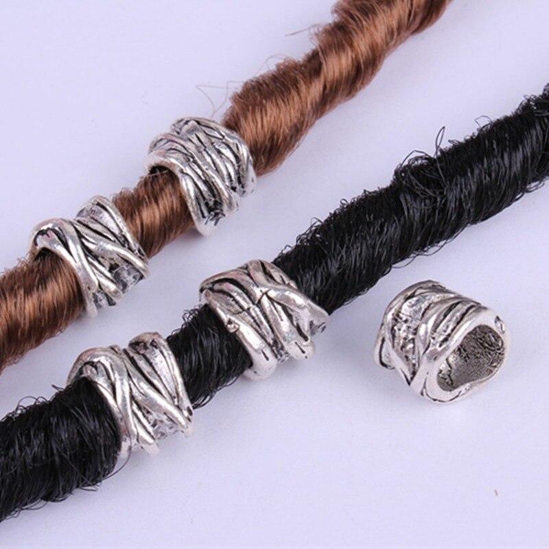 5 Pcs/set Alloy Silver Hair Braid Dreadlock Copper Large Hole Beads Wig Jewelry Reggae Braid Decoration Hair Ring