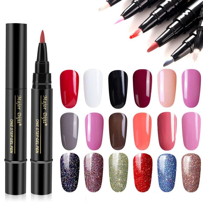 Nail Art 1 Pcs 3 In 1 One Step Gel Varnish Pen Nail Gel Polish Special Design Pencils Women Cosmetic