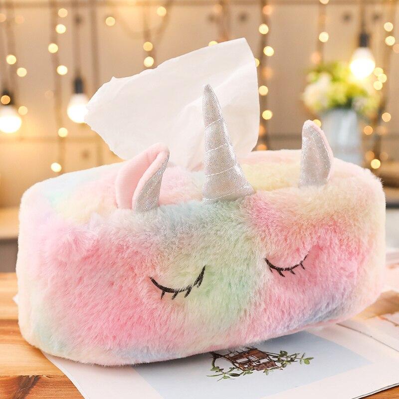 Caja de pañuelos de peluche de unicornio de dibujos animados, caja de pañuelos de papel duradera para sofá de Hotel o casa, bolsa para servilletas, bolsa, juguetes para niños, regalos para niñas